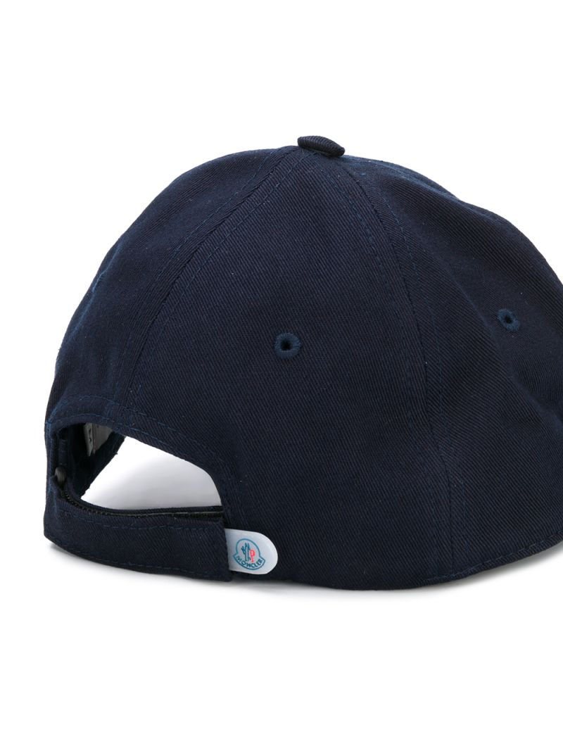 MONCLER KIDS: cappellino baseball in cotone patch logo Colore Blu_2