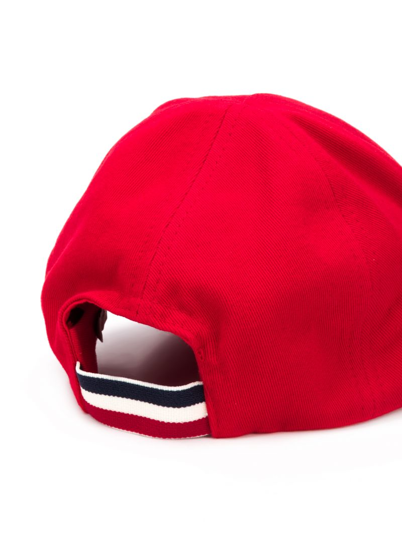 MONCLER KIDS: logo patch canvas baseball cap Color Red_2