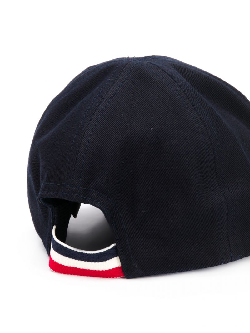MONCLER KIDS: logo patch canvas baseball cap Color Blue_2