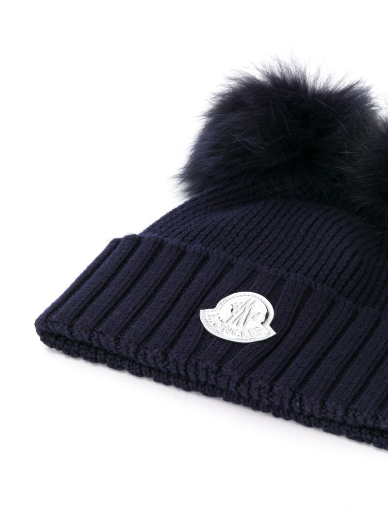 MONCLER KIDS: ribbed wool beanie with double-pompom Color Blue_2