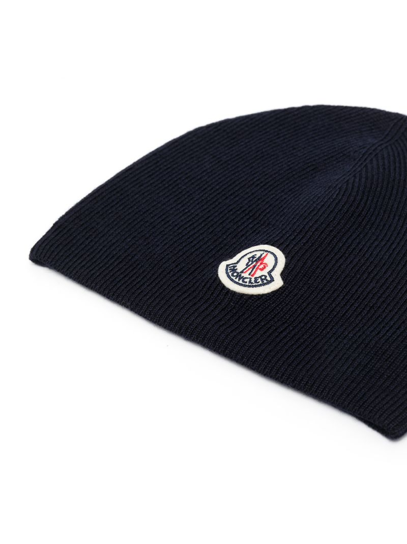 MONCLER KIDS: logo patch wool beanie Color Blue_2