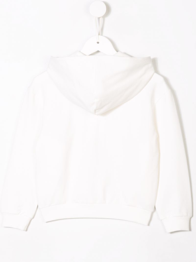 MONCLER KIDS: logo embroidered zipped hoodie Color White_2