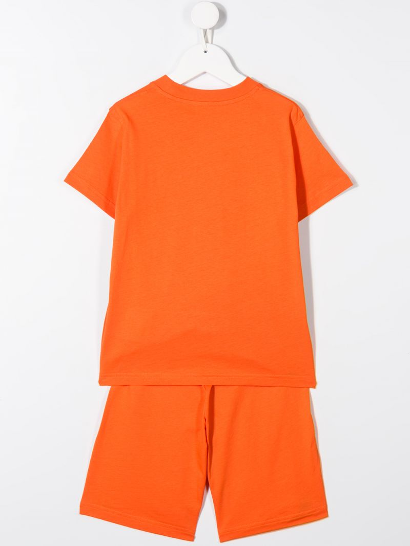 MONCLER KIDS: cotton jersey t-shirt and shorts Color Orange_2