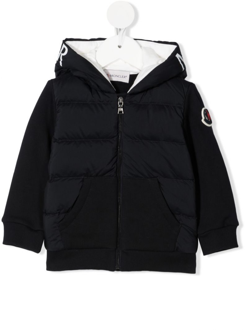 MONCLER KIDS: logo-detailed nylon and jersey down jacket Color Blue_1