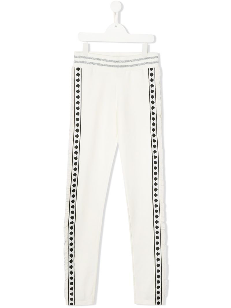 MONCLER KIDS: logoed band-detailed stretch cotton joggers Color White_1