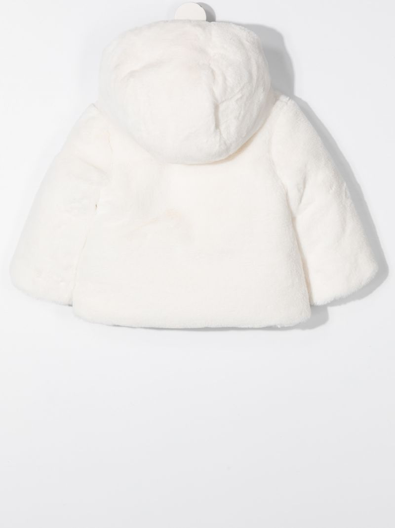 MONCLER KIDS: faux fur down jacket Color White_2
