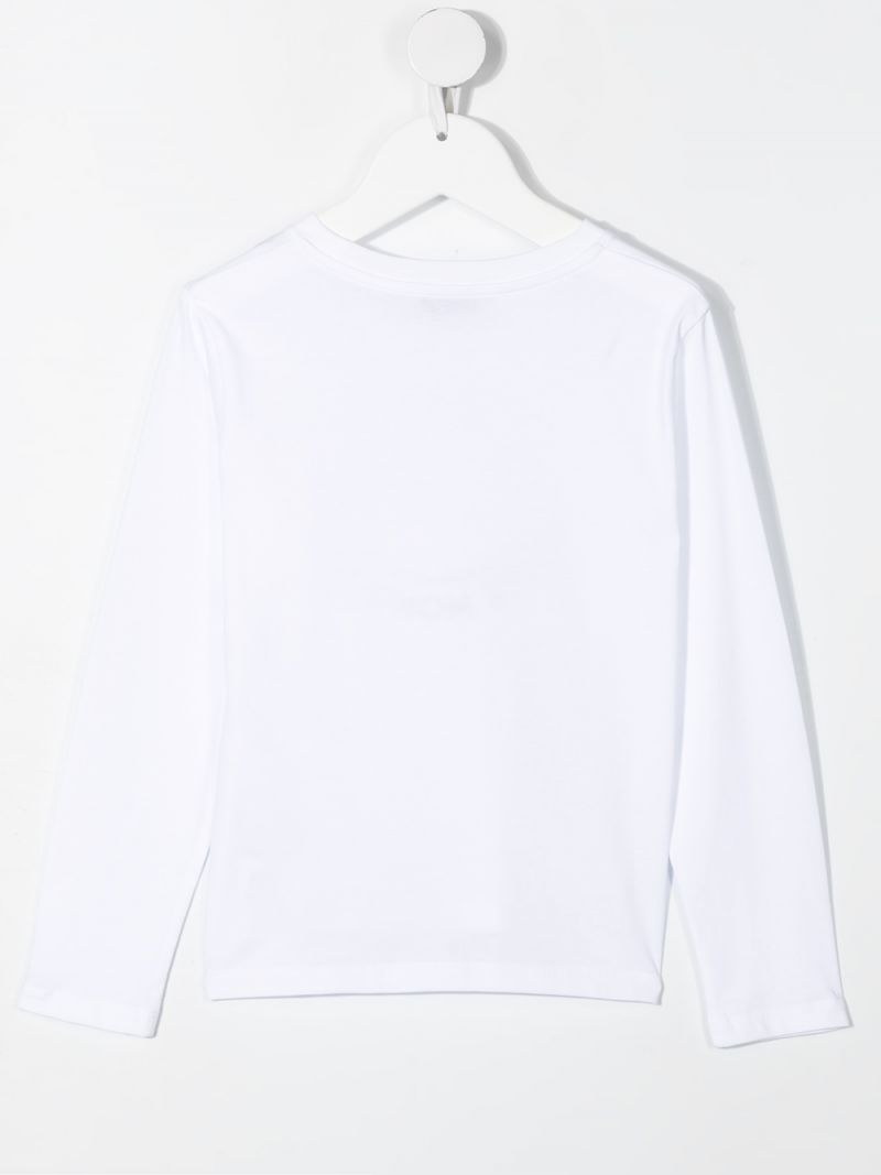 MONCLER KIDS: Love Moncler-embroidered long-sleeved cotton t-shirt Color White_2