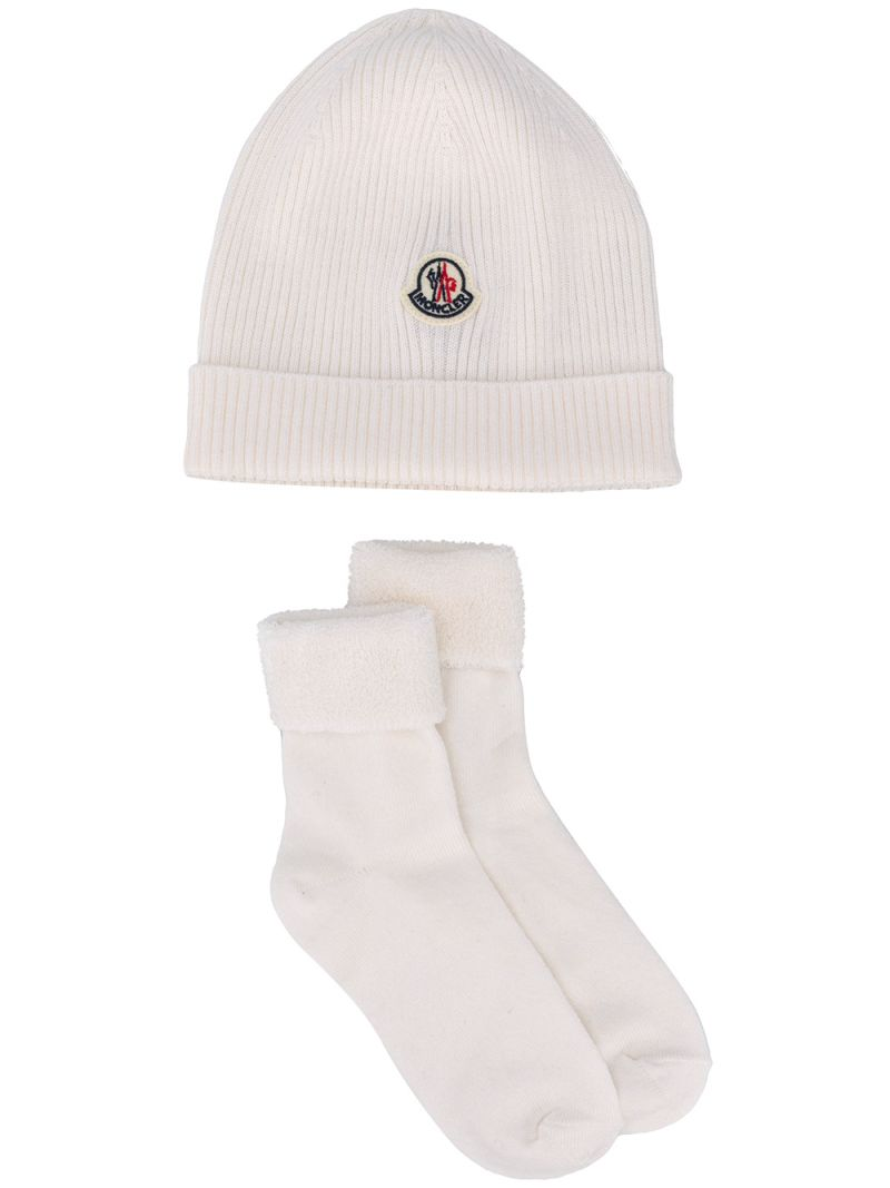 MONCLER KIDS: cotton wool blend beanie and socks Color Multicolor_1
