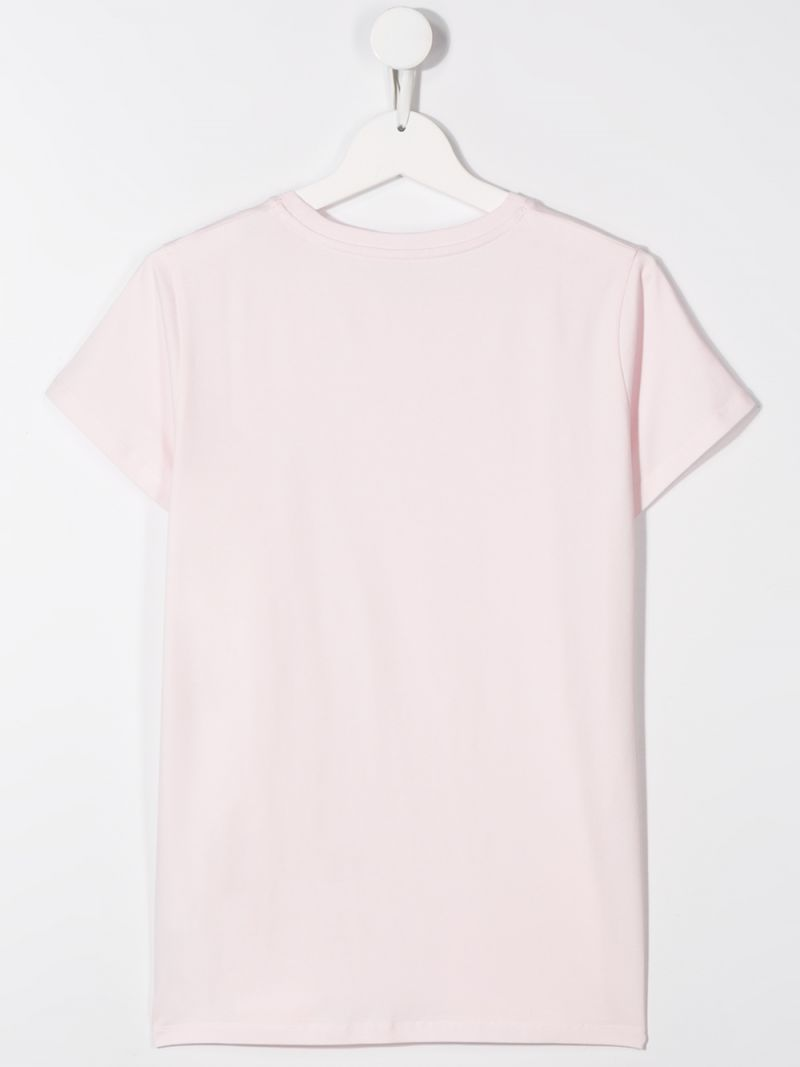 MONCLER KIDS: logo print cotton blend t-shirt Color Pink_2