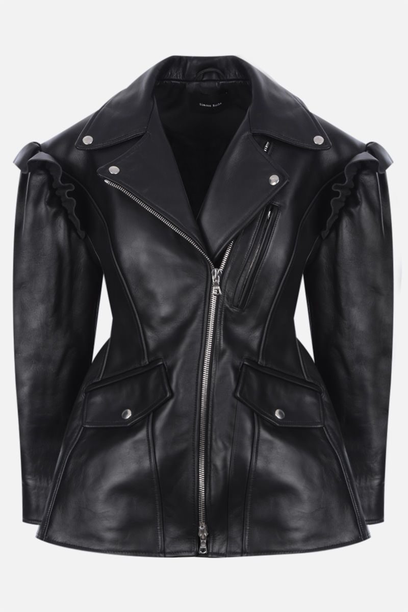 SIMONE ROCHA: ruches-detailed leather jacket Color Black_1