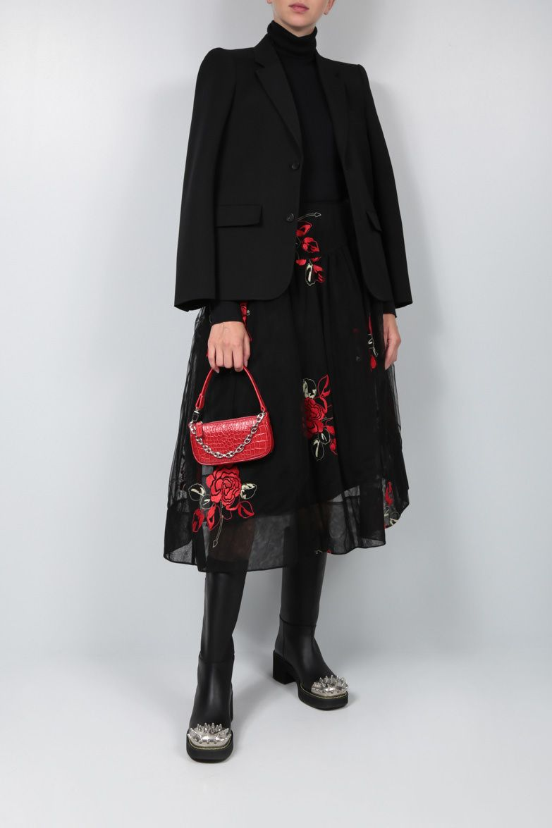 SIMONE ROCHA: floral embroidered tulle circle skirt Color Black_3