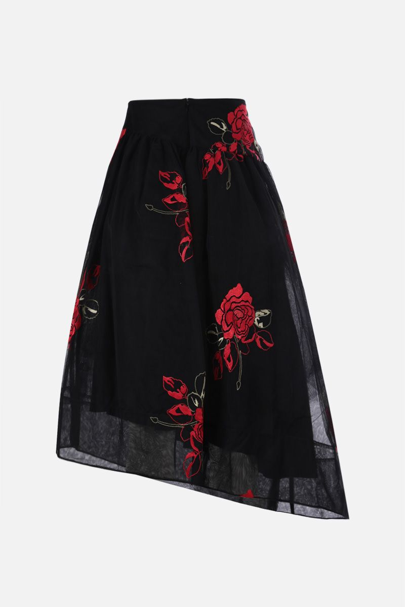 SIMONE ROCHA: floral embroidered tulle circle skirt Color Black_2