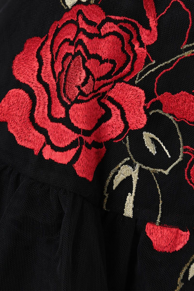 SIMONE ROCHA: floral embroidered tulle circle skirt Color Black_5