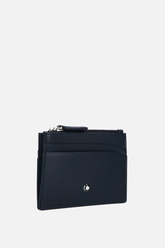 MONTBLANC: Meisterstück smooth leather zip card case Color Blue_2