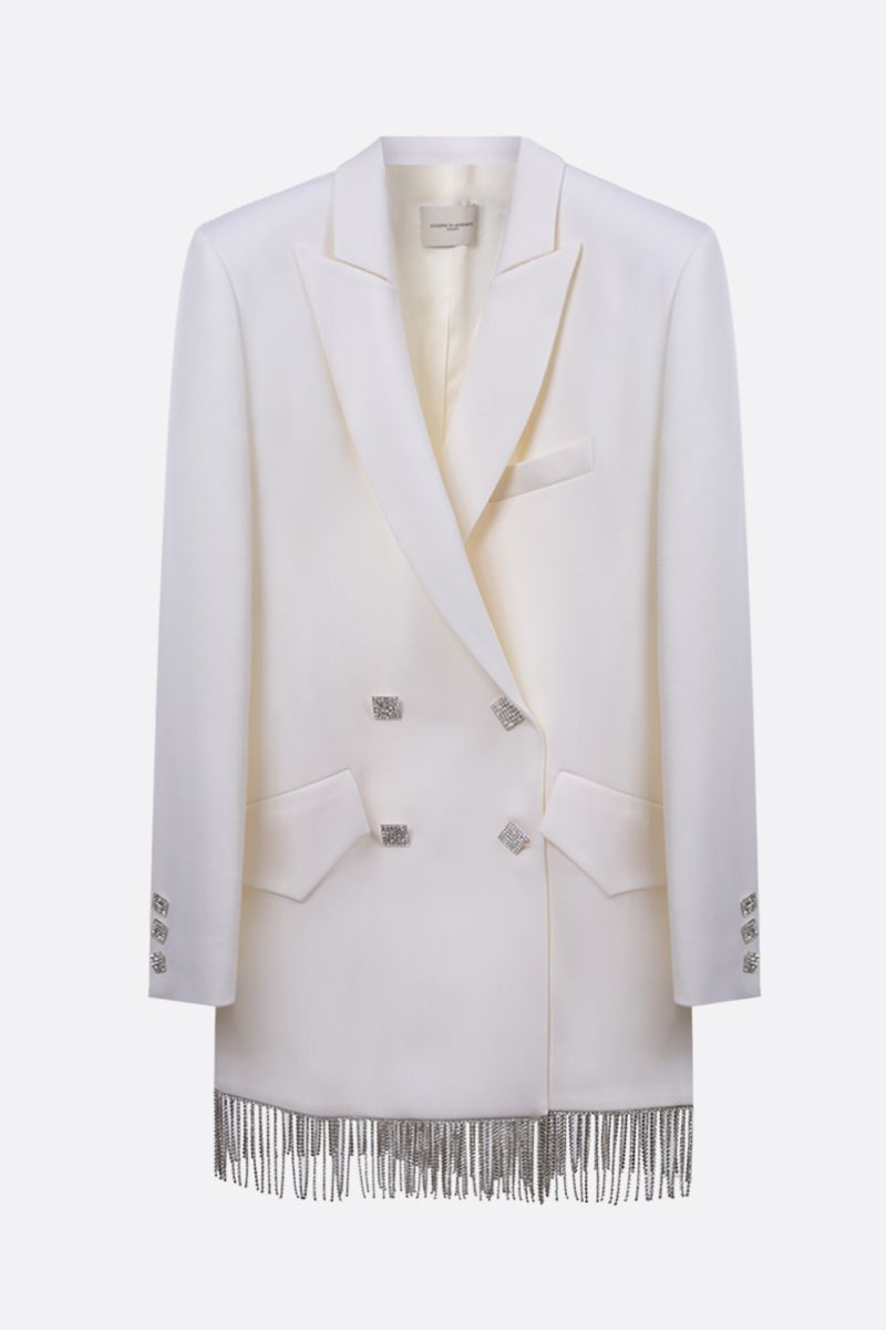 GIUSEPPE DI MORABITO: fringe-detailed wool blend jacket-dress Color White_1