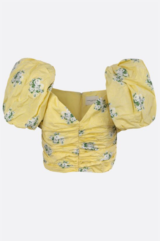 GIUSEPPE DI MORABITO: floral-motif taffetà cropped top Color Yellow_1