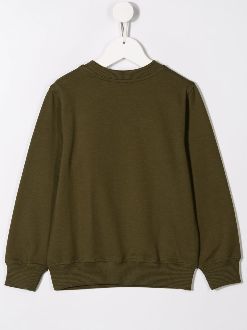 MOSCHINO KIDS: Army Label jersey sweatshirt Color Green_2