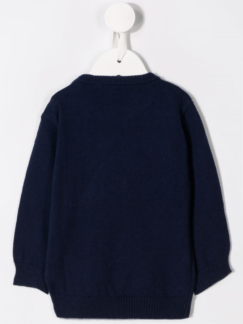 MOSCHINO KIDS: Winter Teddy Bear patch cotton wool blend pullover Color Blue_2