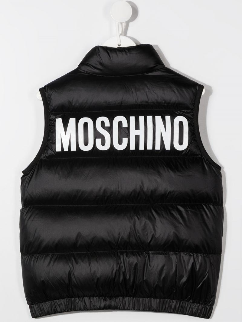 MOSCHINO KIDS: logo print sleveless nylon down jacket Color Black_2