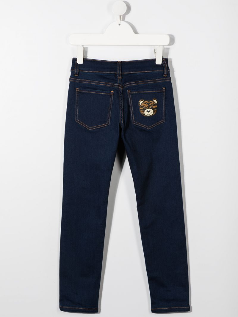 MOSCHINO KIDS: jeans stampa Teddy Bear Colore Blu_2