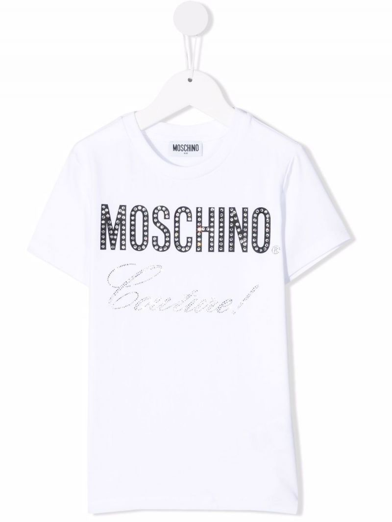MOSCHINO KIDS: Moschino Couture! stretch cotton t-shirt Color White_1