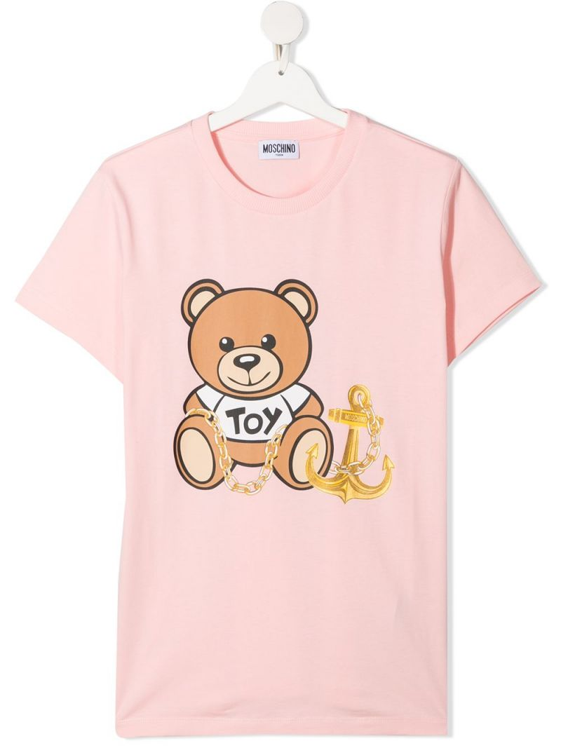 MOSCHINO KIDS: Moschino Teddy Bear print stretch cotton t-shirt Color White_1