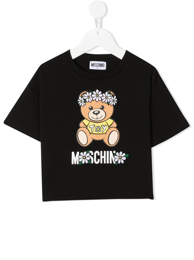 MOSCHINO KIDS: Daisy Teddy Bear stretch cotton t-shirt Color Black_1