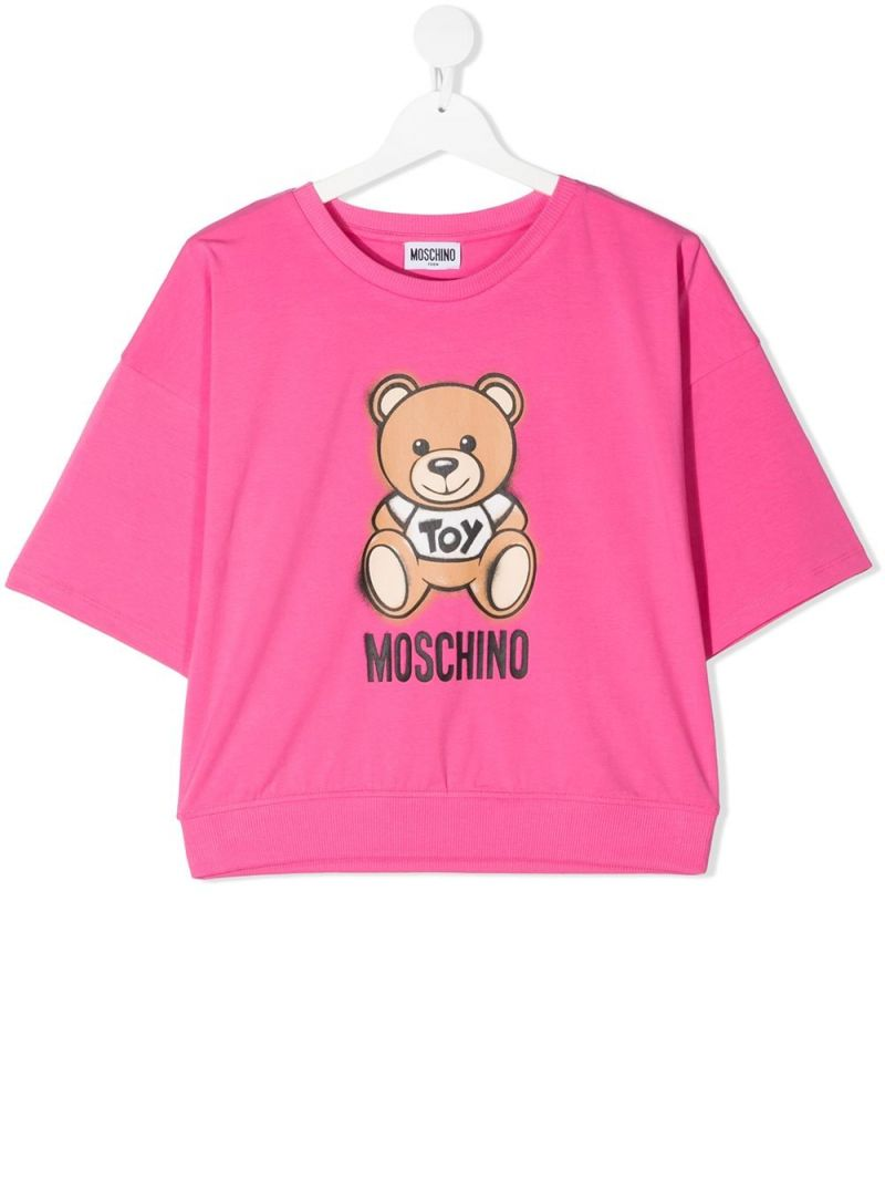 MOSCHINO KIDS: Spray Teddy Bear stretch cotton t-shirt Color Pink_1
