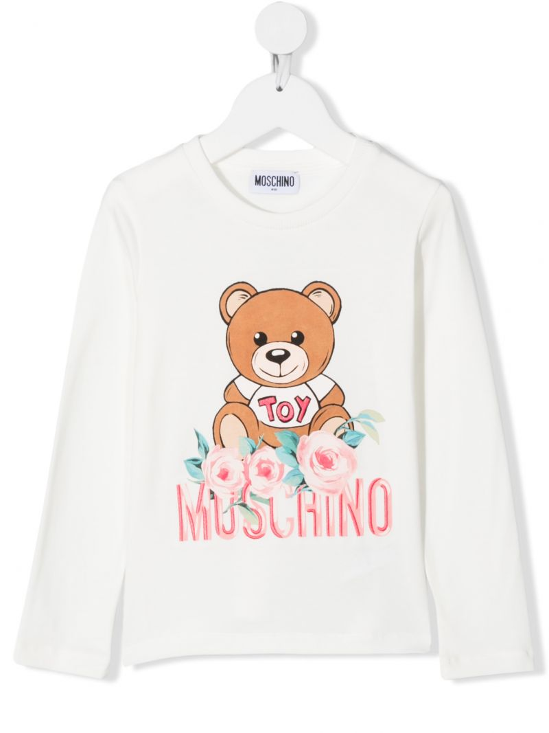 MOSCHINO KIDS: Roses Teddy Bear long-sleeved cotton t-shirt Color White_1