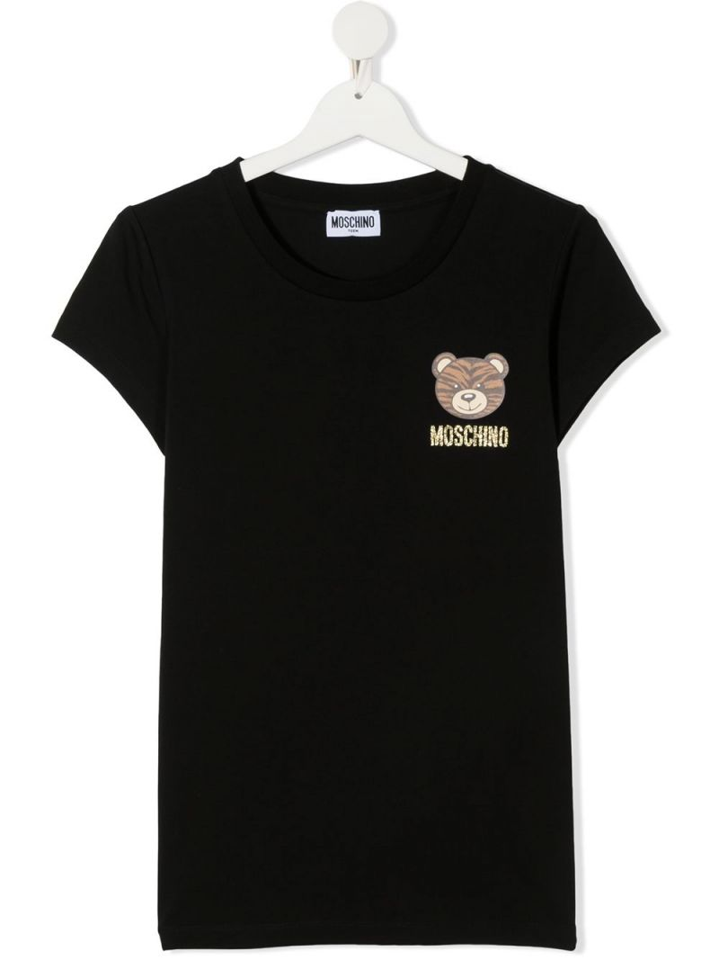 MOSCHINO KIDS: Tiger Teddy Bear print stretch cotton t-shirt Color Black_1
