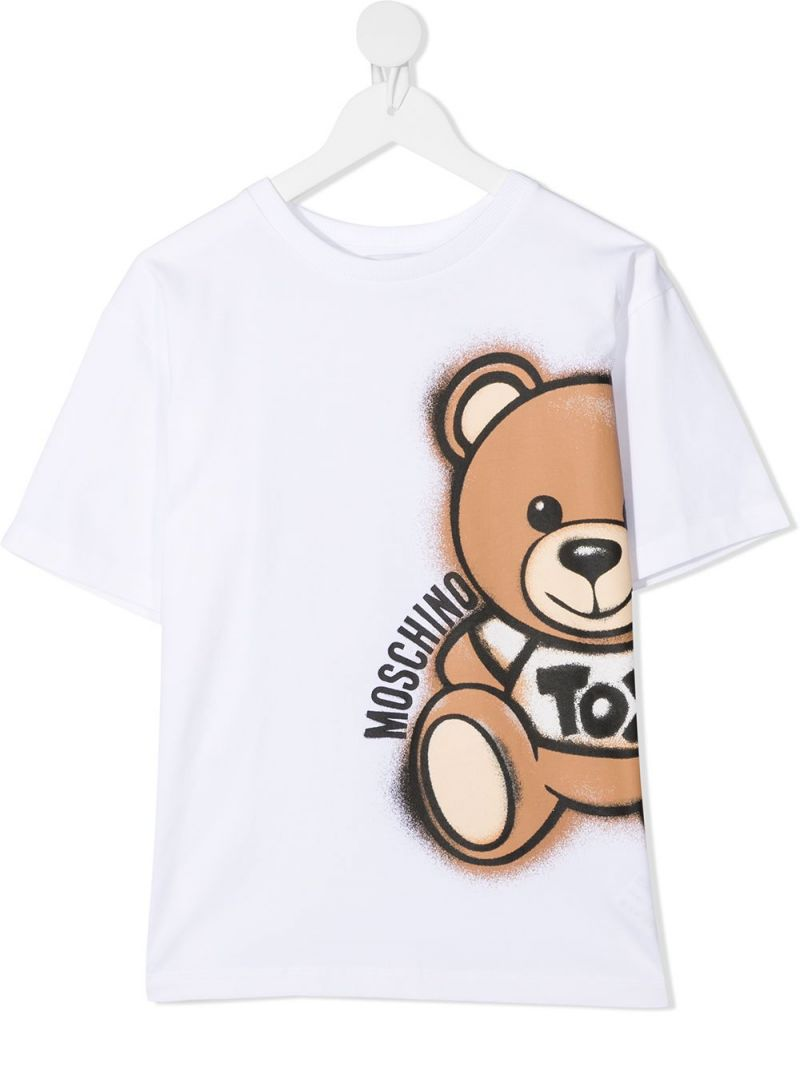 MOSCHINO KIDS: Spray Teddy Bear stretch cotton t-shirt Color White_1