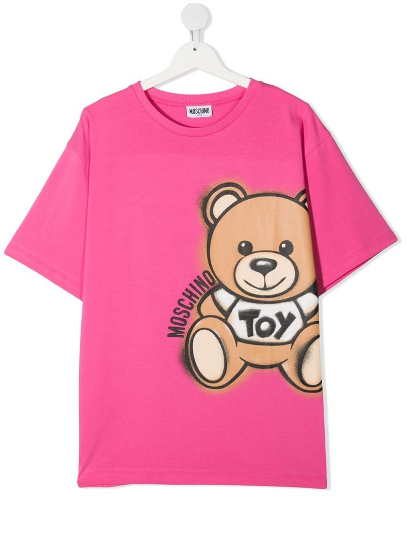 MOSCHINO KIDS: Spray Teddy Bear cotton t-shirt Color Pink_1