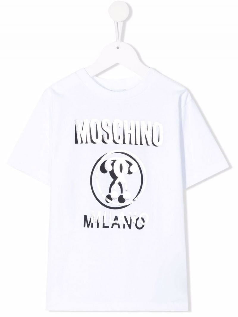 MOSCHINO KIDS: Double Question Mark print cotton t-shirt Color White_1