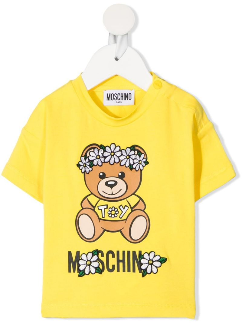 MOSCHINO KIDS: Daisy Teddy Bear stretch cotton t-shirt Color Yellow_1