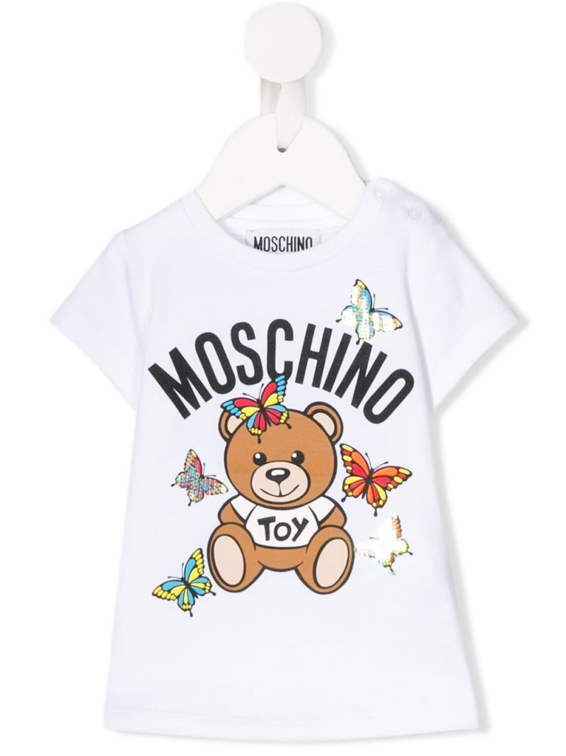 MOSCHINO KIDS: t-shirt Butterflies Teddy Bear in cotone stretch Colore Bianco_1