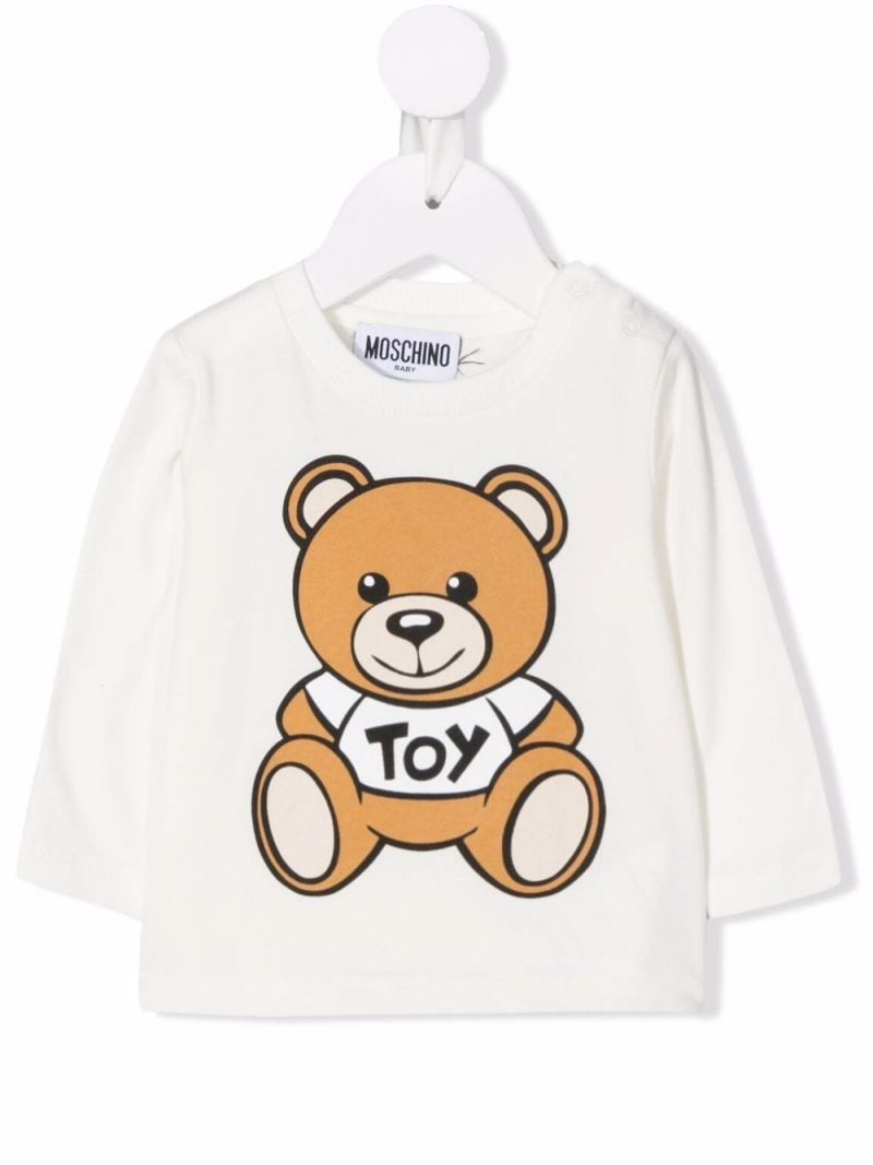 MOSCHINO KIDS: Toy Teddy Bear long-sleeved stretch cotton t-shirt Color Grey_1