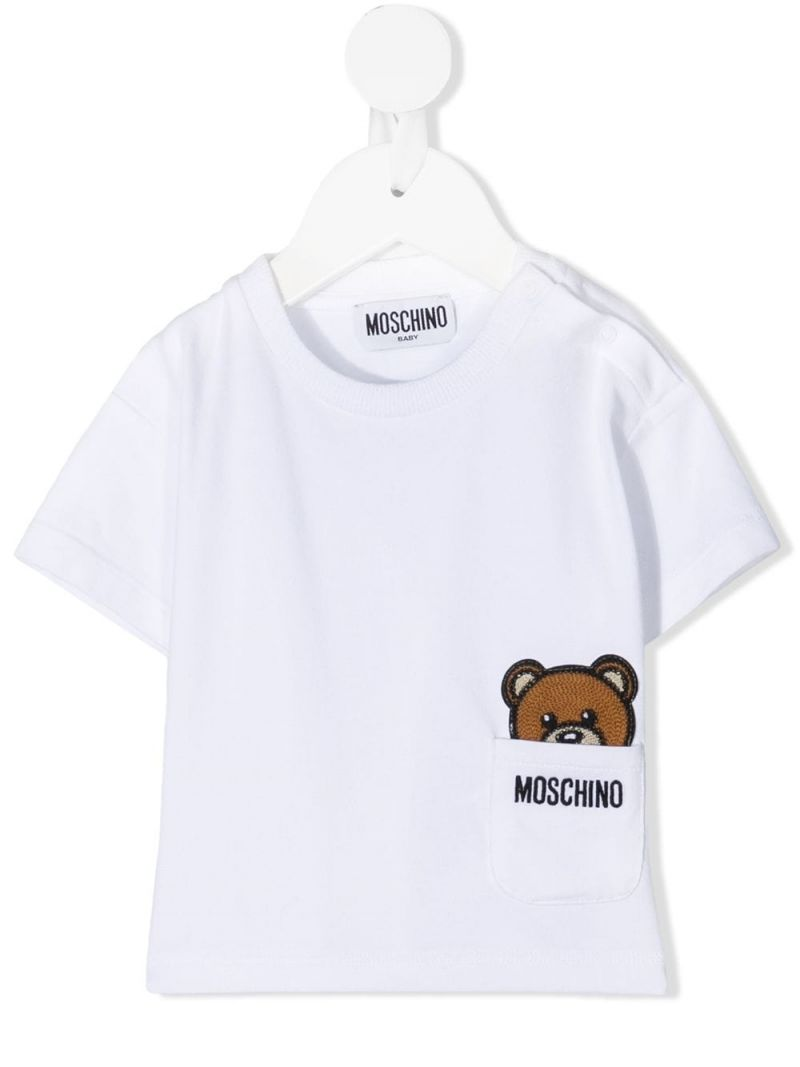 MOSCHINO KIDS: Moschino Teddy Bear patch stretch cotton t-shirt Color White_1