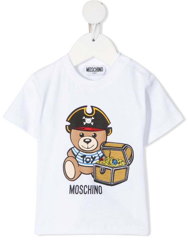 MOSCHINO KIDS: Pirate Teddy Bear stretch cotton t-shirt Color White_1