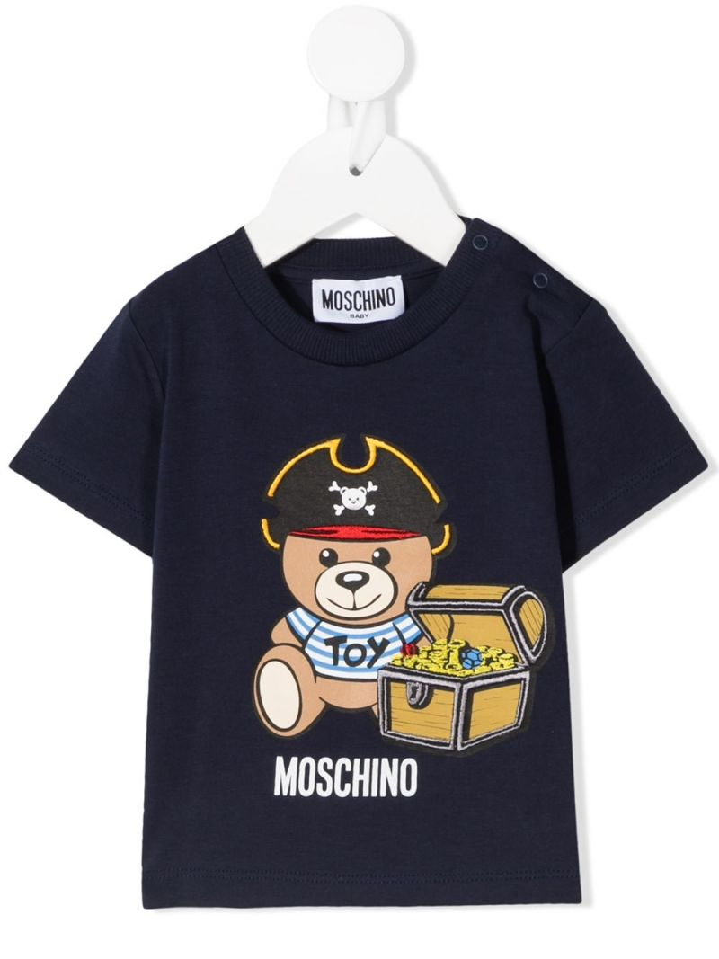 MOSCHINO KIDS: Pirate Teddy Bear stretch cotton t-shirt Color Blue_1