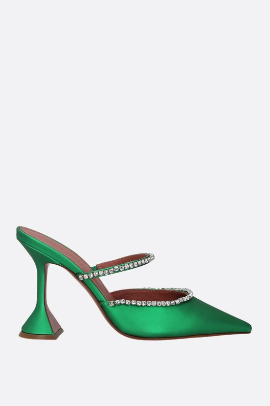 AMINA MUADDI: Gilda matte faux leather mules Color Green_1