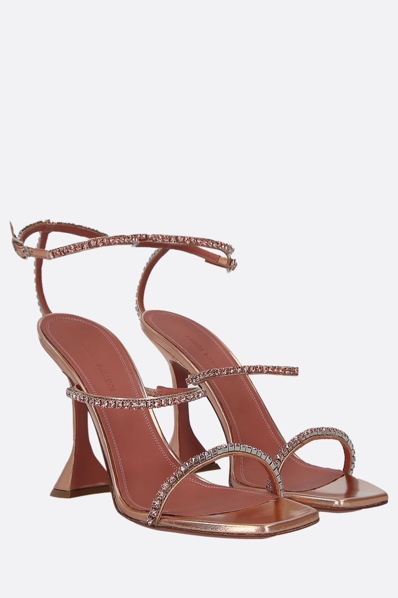 AMINA MUADDI: Gilda laminated leather sandals Color Orange_2
