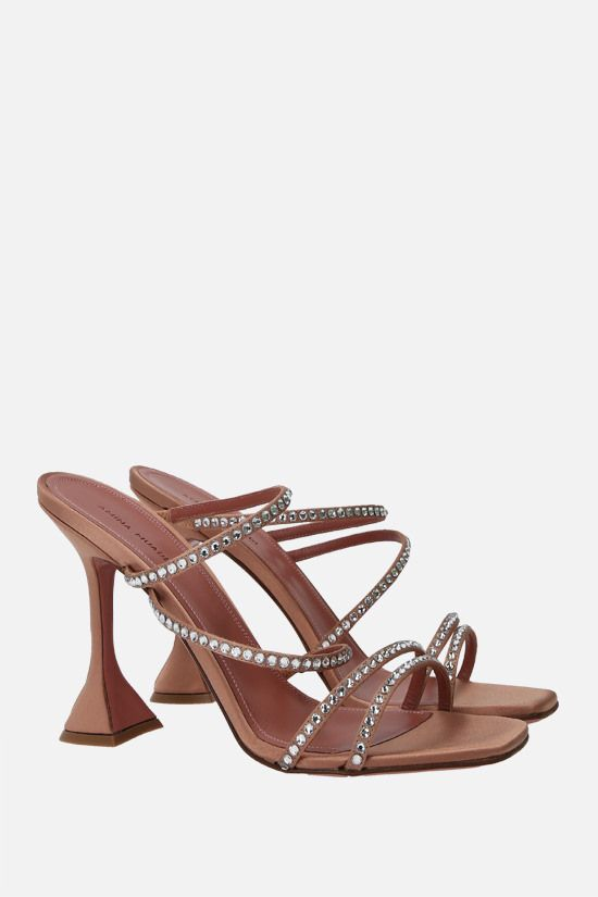 AMINA MUADDI: Naima crystal-embellished satin mule sandals Color Neutral_2