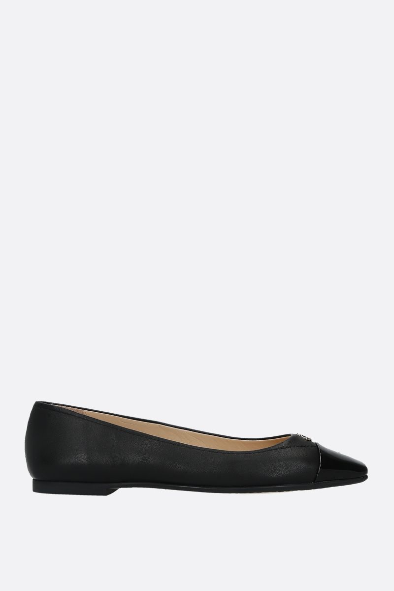JIMMY CHOO: Gisela nappa and patent leather ballerinas Color Black_1
