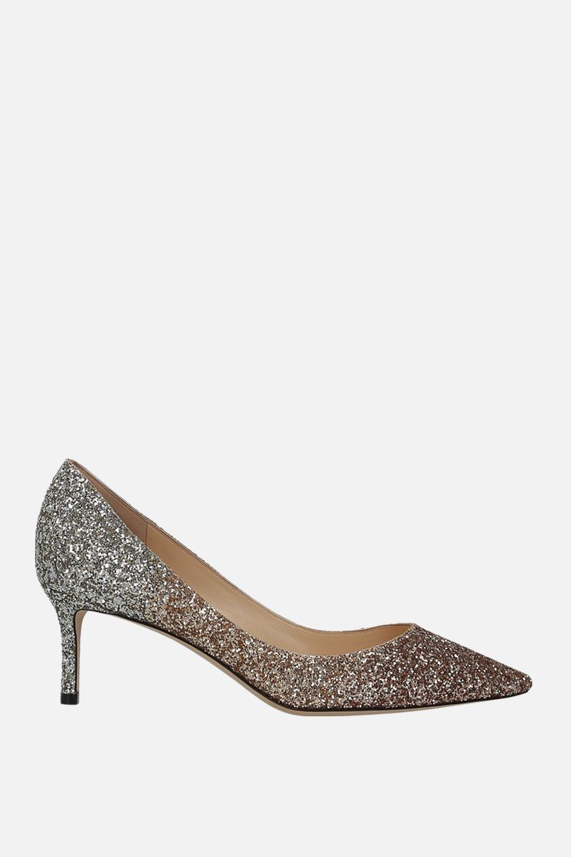 JIMMY CHOO: Romy pumps in glitter fabric Color Gold_1