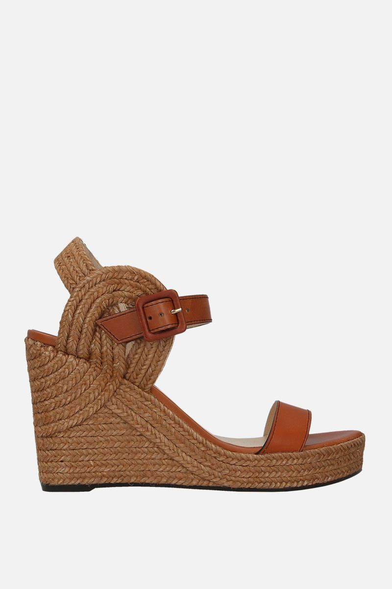 JIMMY CHOO: Delphi wedge sandals in smooth leather Color Brown_1