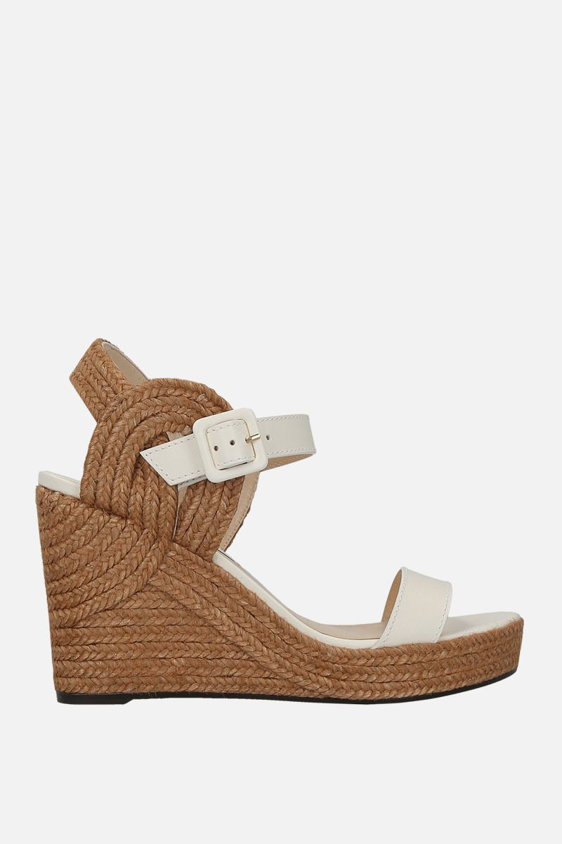 JIMMY CHOO: Delphi wedge sandals in smooth leather Color White_1