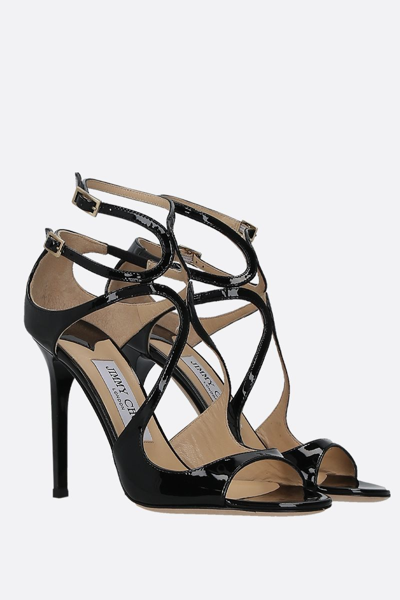 JIMMY CHOO: Lang patent leather sandals Color Black_2