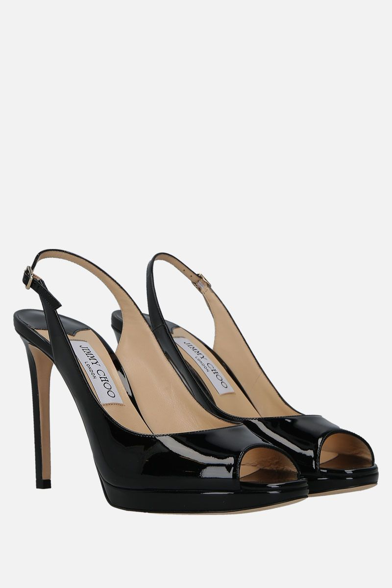 JIMMY CHOO: Nova platform sandals in patent leather Color Black_2