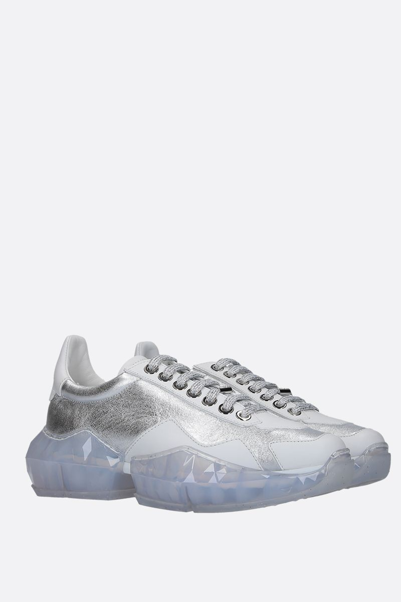 JIMMY CHOO: Diamond/F smooth and laminated leather sneakers Color Silver_2