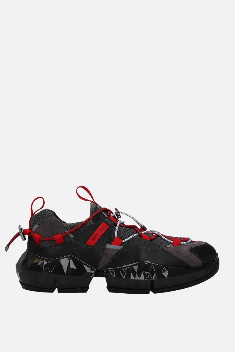 JIMMY CHOO: Diamond Trail/M sneakers in mesh and leather Color Black_1